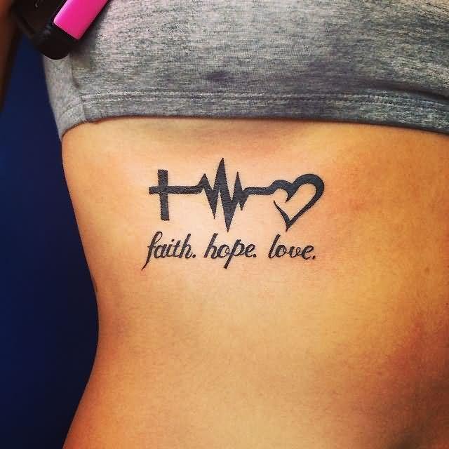 black-ink-heartbeat-cross-ekg-heart-tattoo-deisgn-with-faith-hope-love-on-girl-ribs