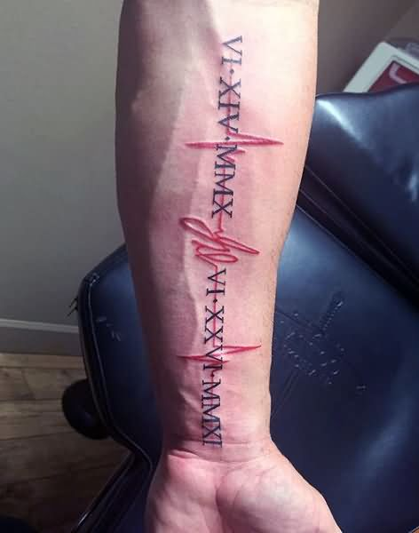 black-and-red-ink-awesome-heartbeat-tattoo-design-with-date-on-men-arm