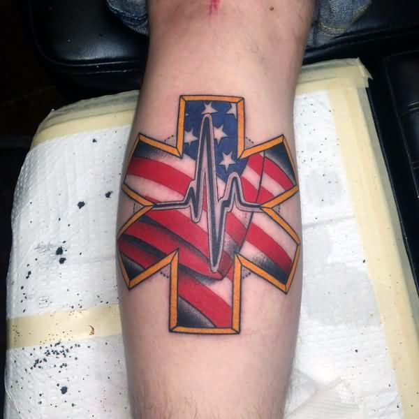 coolest-colorful-ink-american-flag-heartbeat-tattoo-deisgn-made-on-men-calf