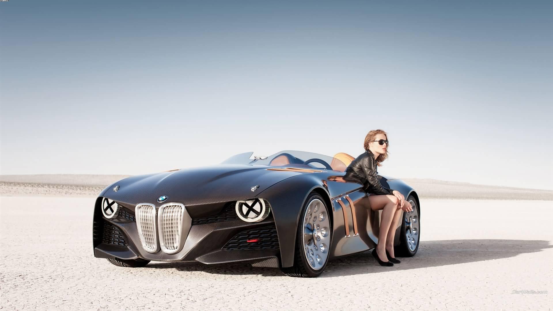 Girl Sitting In BMW 328 Car In Desert HD Wallpaper
