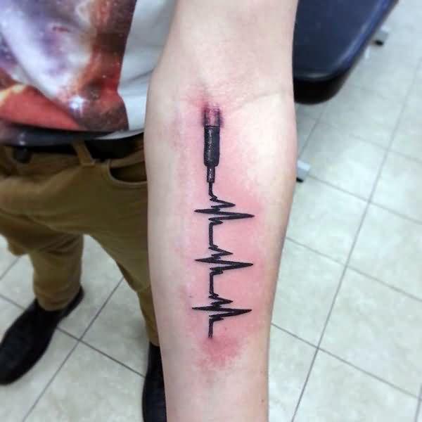 mind-blowing-black-ink-heartbeat-3d-tattoo-deisgn-for-men-lower-arm