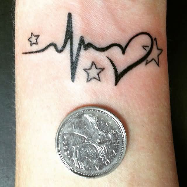 outstanding-heart-star-coin-small-black-ink-tattoo-for-women-wrist
