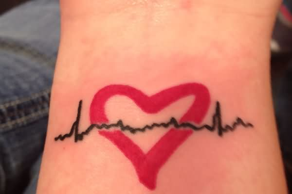 red-ink-amazing-heartbeat-and-heart-tattoo-design-for-women-wrist