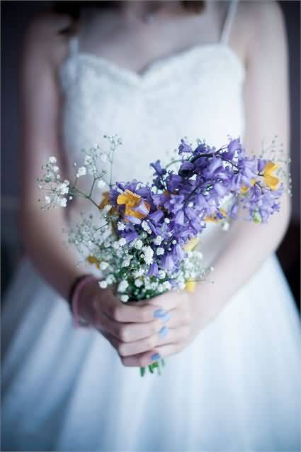 Awesome Bluebell Flower Bouquet in Girl Hands