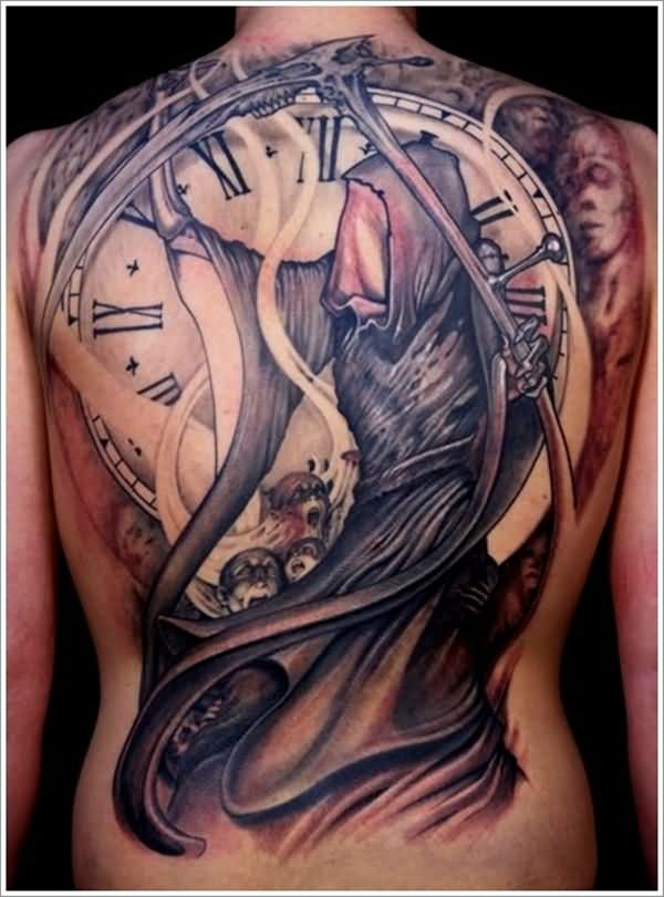 Awesome Clock Grim Reaper Back Tattoo Design For Men