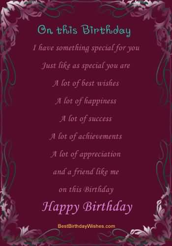 Birthday Poem To Someone Special