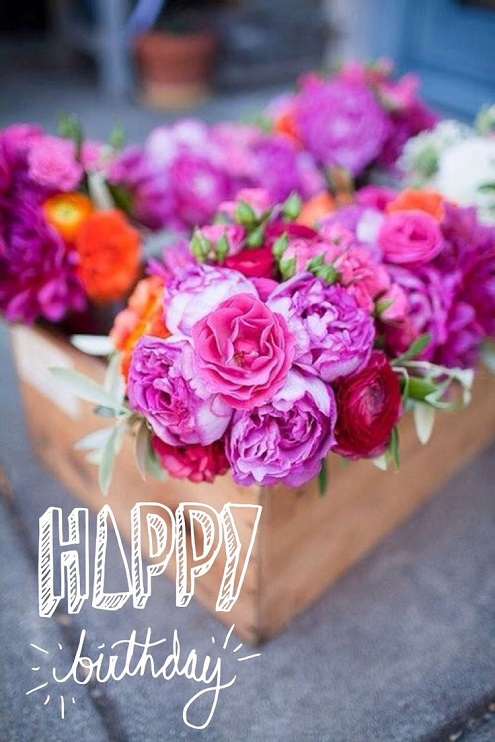 Colorful Flower Birthday Greeting Image