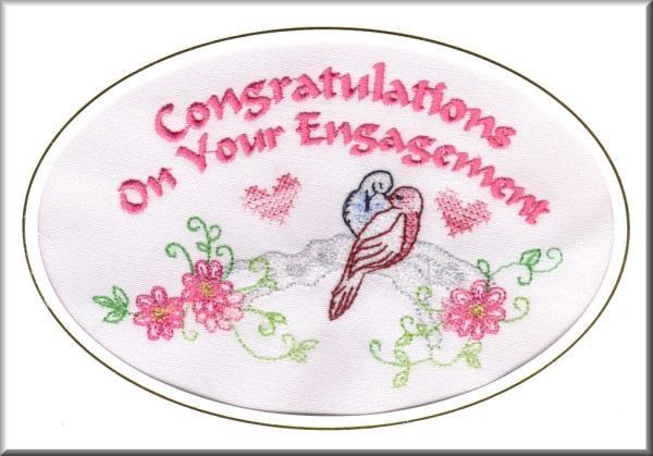 Congratulations On Your Engagement Bird Embroidery Greeting Picture