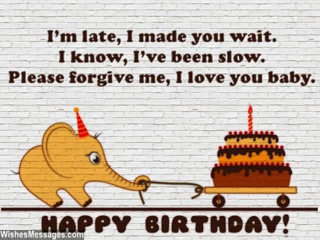 Cute Elephant Saying Happy Belated Birthday