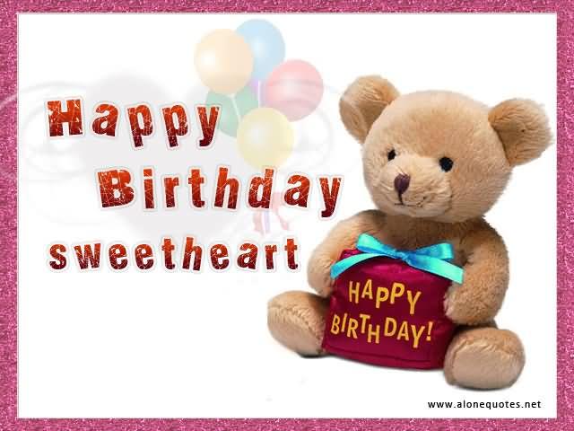 Cute Teddy Wishes Happy Birthday Sweetheart