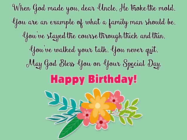 Dear Uncle May God Bless You On Your Special Day Happy ...