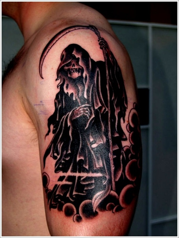 Fabulous Black Ink Grim Reaper Tattoo Design Made On Men Shoulder