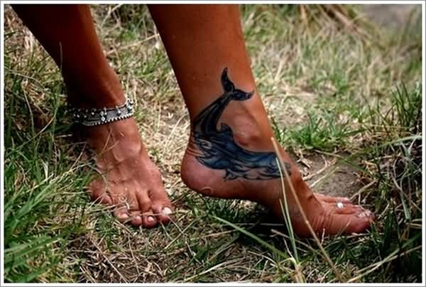 Fabulous Dolphin Fish Tattoo Design For Girl Ankle