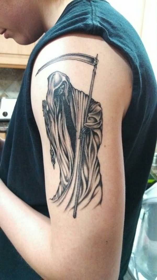 Fantastic Grey Ink Grim Reaper Tattoo Design Made On Men Shoulder