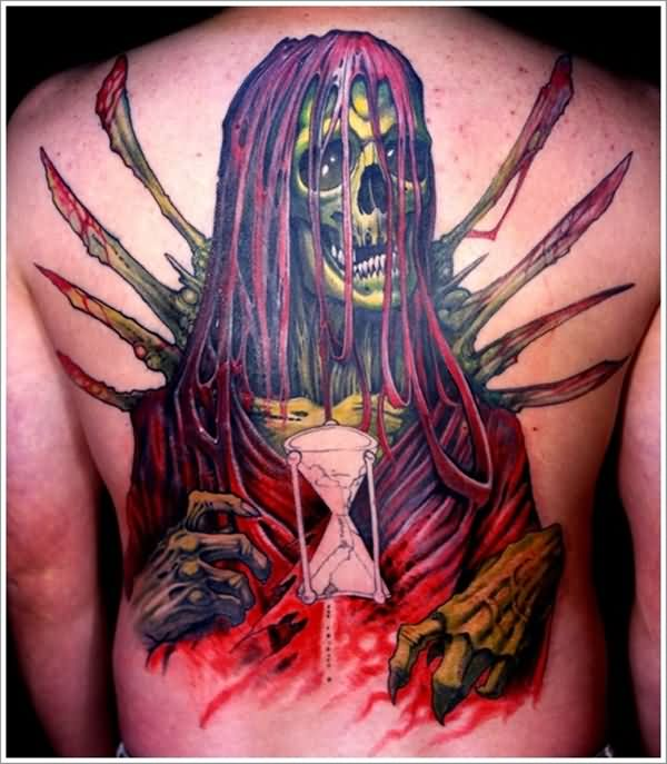 Fantastic Horrible Grim Reaper Hour Glass Tattoo For Men Back Body