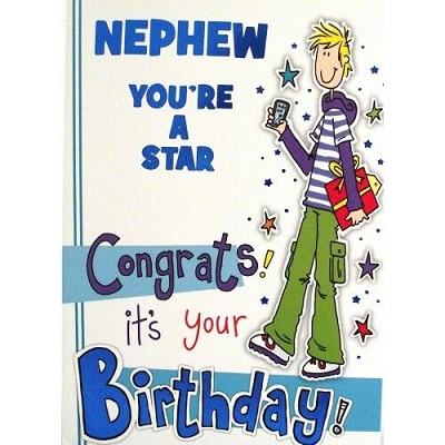 Fantastic Nephew You're Star Congrats It's Your Birthday Wishes Card
