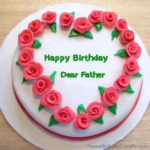 Father Birthday Wishes Flower Cake