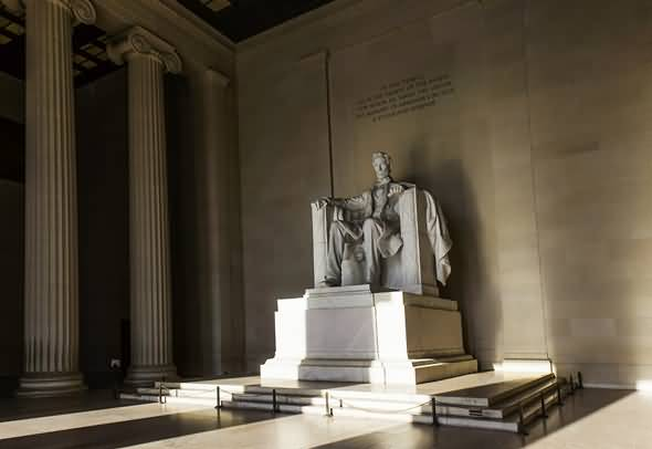 Great Two Columns And Statue Of Abraham Lincoln In The Lincoln Memorial