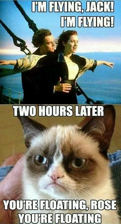 Grumpy Cat Meme Im Flying Jack Im Flying Two Hours Later Yooure Floating Rose Youre Floating