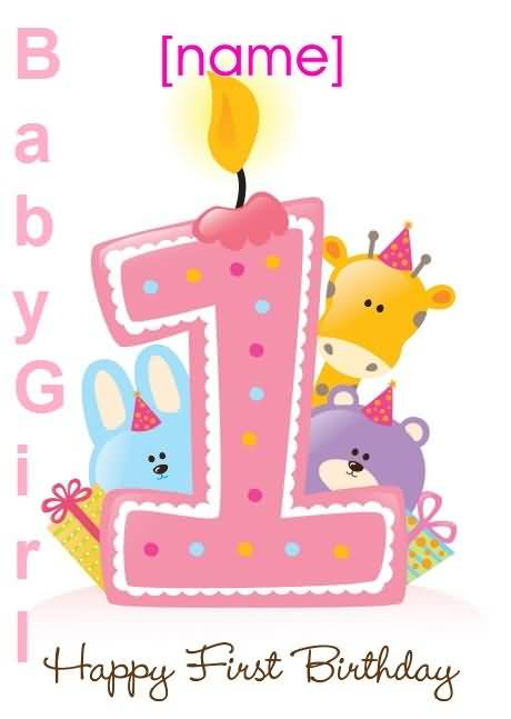 Happy 1st Birthday Card Wishes For Baby Girl