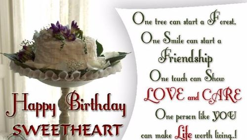Happy Birthday Sweetheart Love And Care