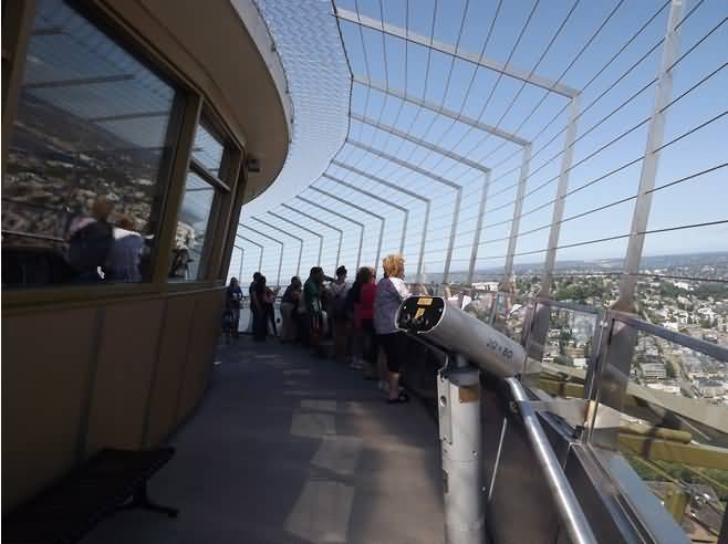 Many People Space Needle Observation Deck Inside View Wallpaper