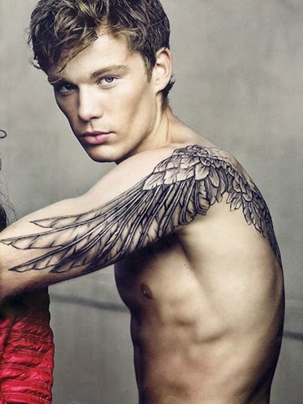 Men Arm Decorated With Amazing Angel Wing Feather Tattoos