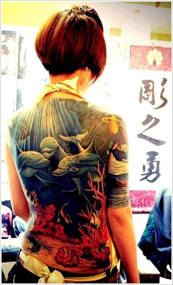 Mind Blowing Colorful Ink Dolphin Sea Tattoo On Back