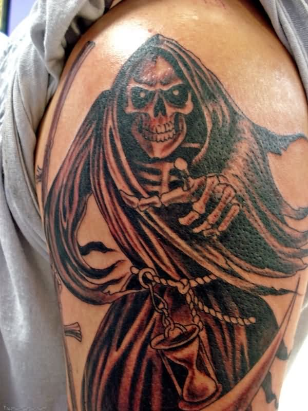 Mind Blowing Grey Grim Reaper Tattoo On Men Shoulder