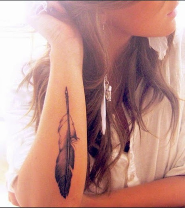 Most Amazing Grey Ink Feather Tattoo Design For Girl Forearm
