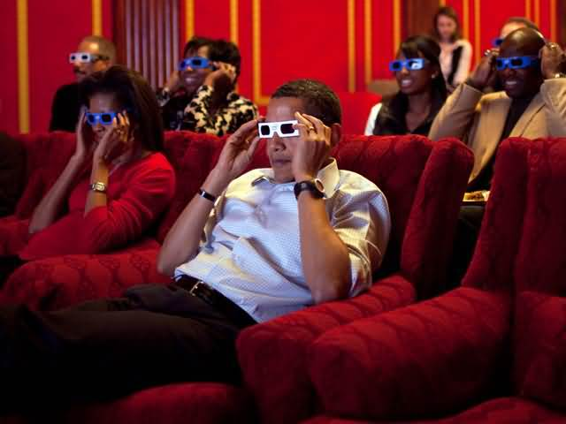Nice Barack Obama Watching 3d Movie Inside The White House With His Wife