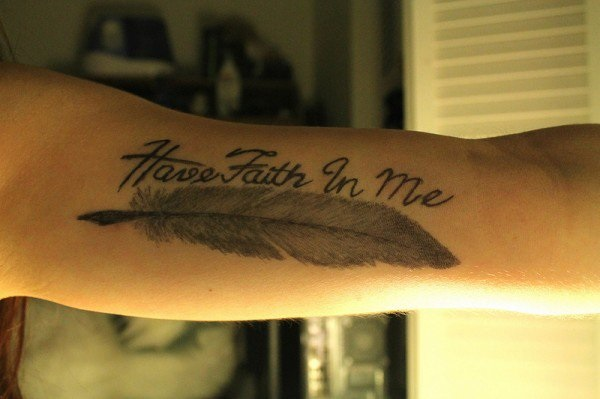Nice Grey Ink Feather Quote Tattoo For Men Inner Arm Or Biceps