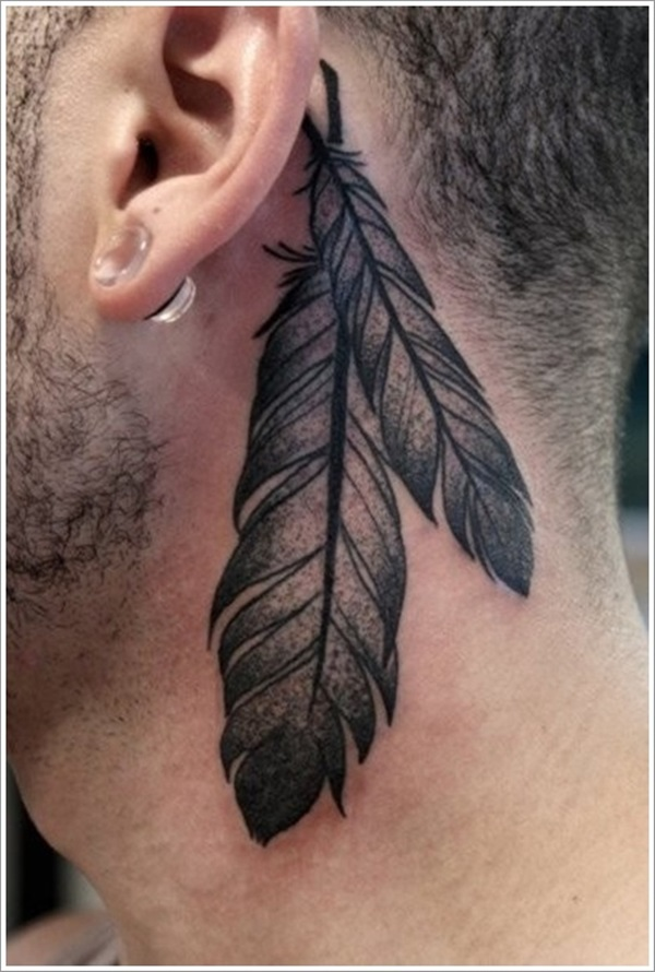 Nice Grey Ink Feathers Tattoo Design For Men Back Ear Or Neck