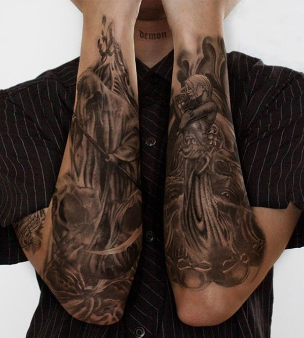 Nice Grim Reaper And Angel Love Tattoo Design For Men Arm