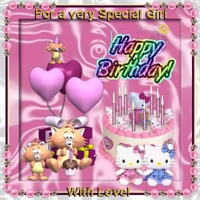 Nice Happy Birthday Greetings Card For Baby Girl