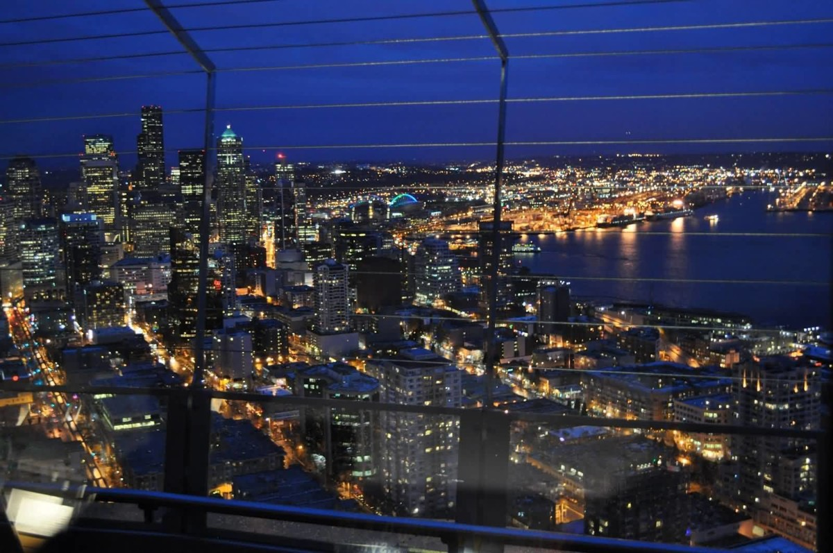 Out Standing Seattle City View From The Space Needle At Night