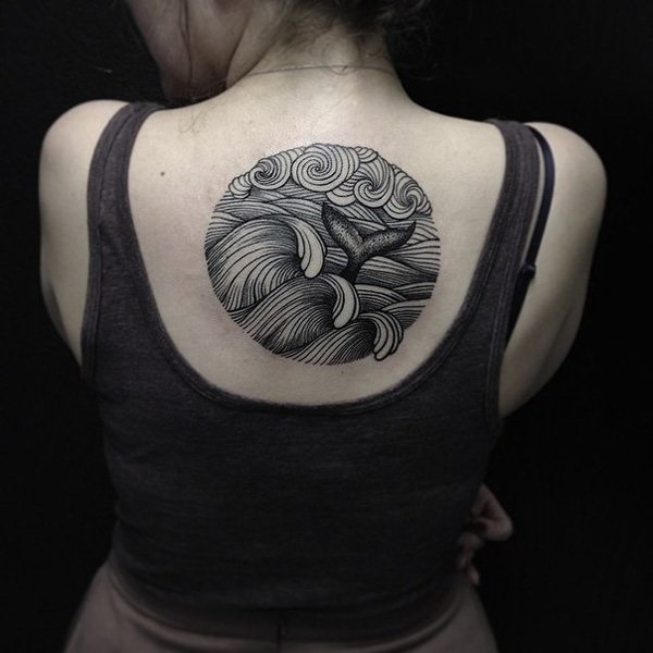 Perfect Grey Ink Circle Back Line Best Tattoo For Girl