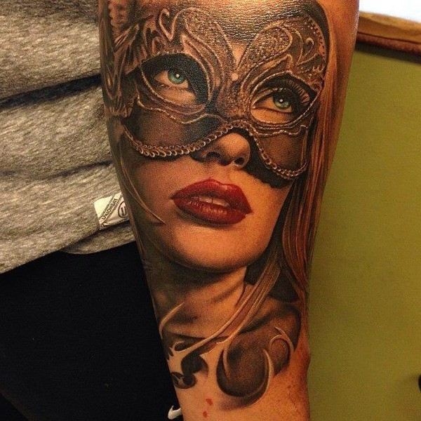 Realistic Portrait Arm Tattoo With Colorful Ink For Man Woman