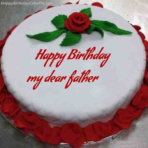 Red Rose Birthday Cake Wishes For Father Picsmine