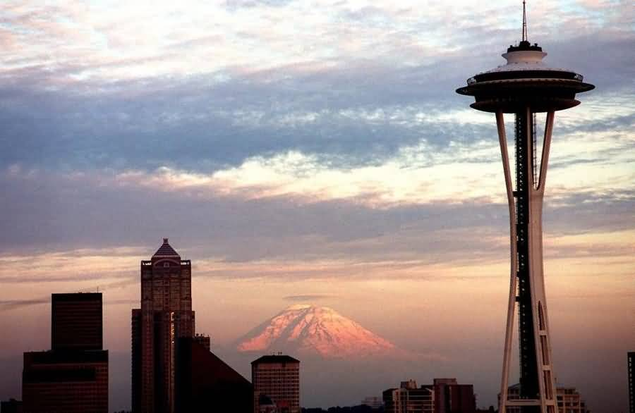 Stunning Space Needle Tower In Seattle During Sunset Photo