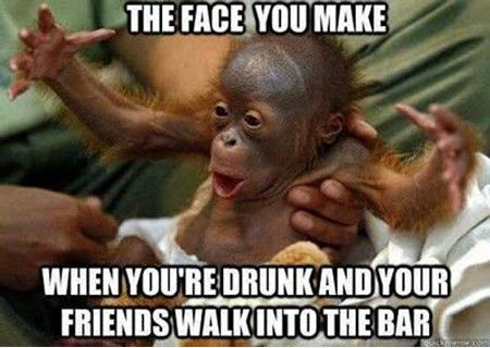 The Face You Make When You're Drunk And Your Friends Walk Into The Bar Drunk Meme