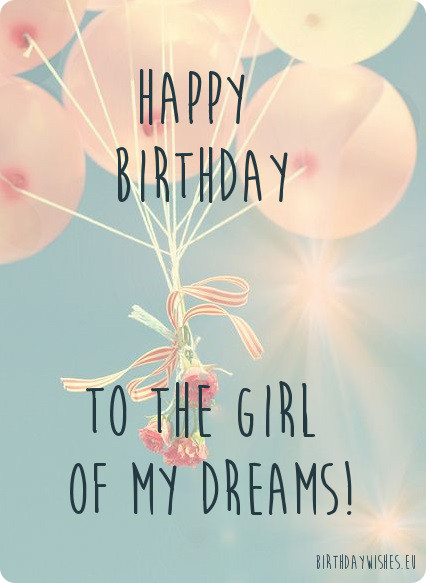 To The Girl Of My Dreams Happy Birthday Darling