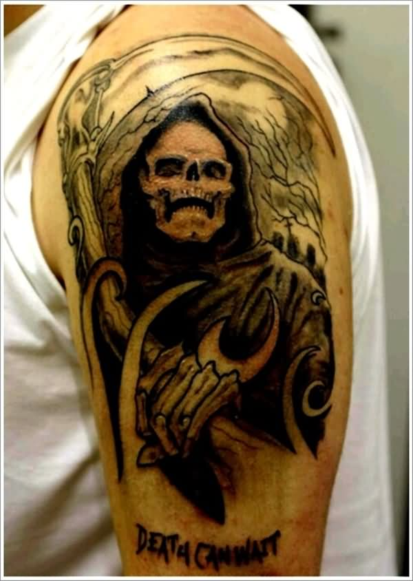 Ultimate Grey Grim Reaper 3d Tattoo For Men Shoulder