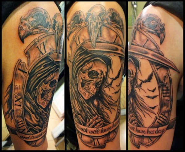 Ultimate Grim Reaper Grey Ink Tattoo For Men Thigh Leg