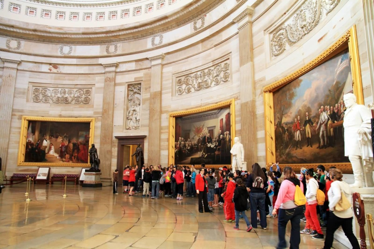 Amazing Floor And Beautiful Walls Of United States Capitol In Many Visitors