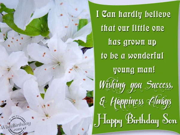 Wish You Success And Happiness Always Happy Birthday Son