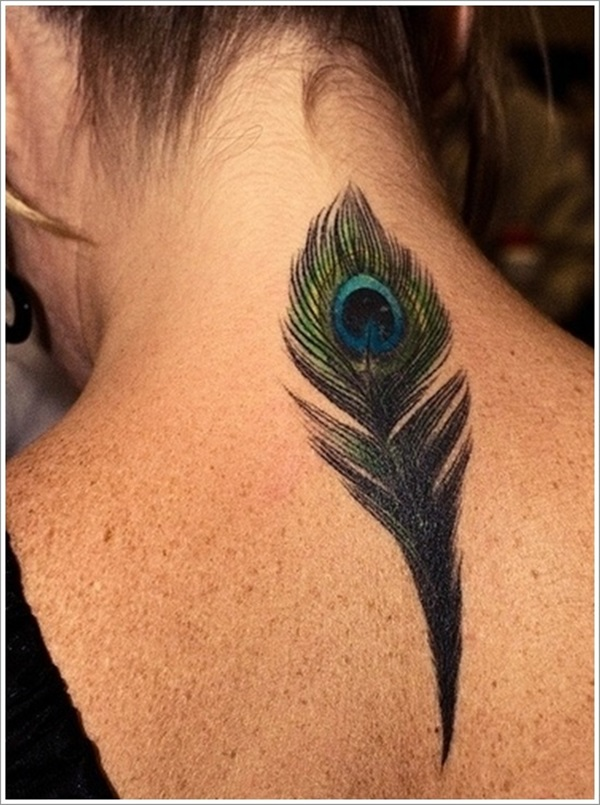 Wonderful Colorful Ink Peacock Feather Tattoo For Women Nape