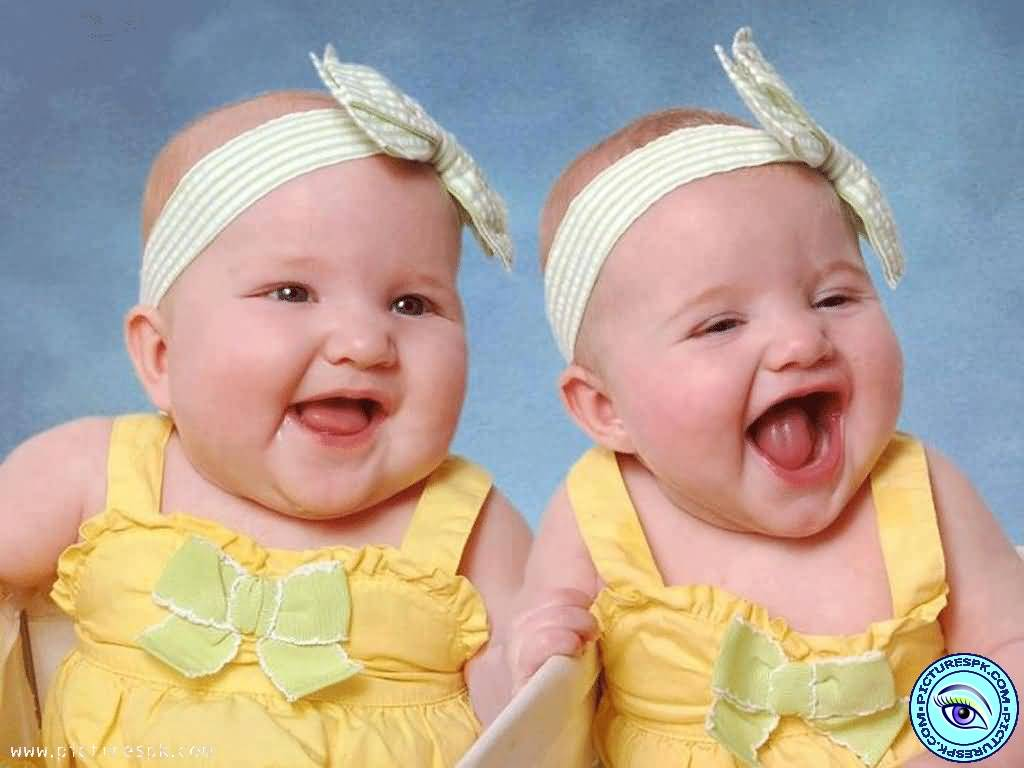Yellow Dress Twin Baby Laughing Picture