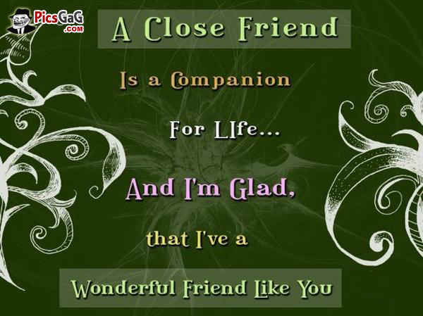 a close friend is a com panion for life.. and im glad, that ive a wonderful friend like you