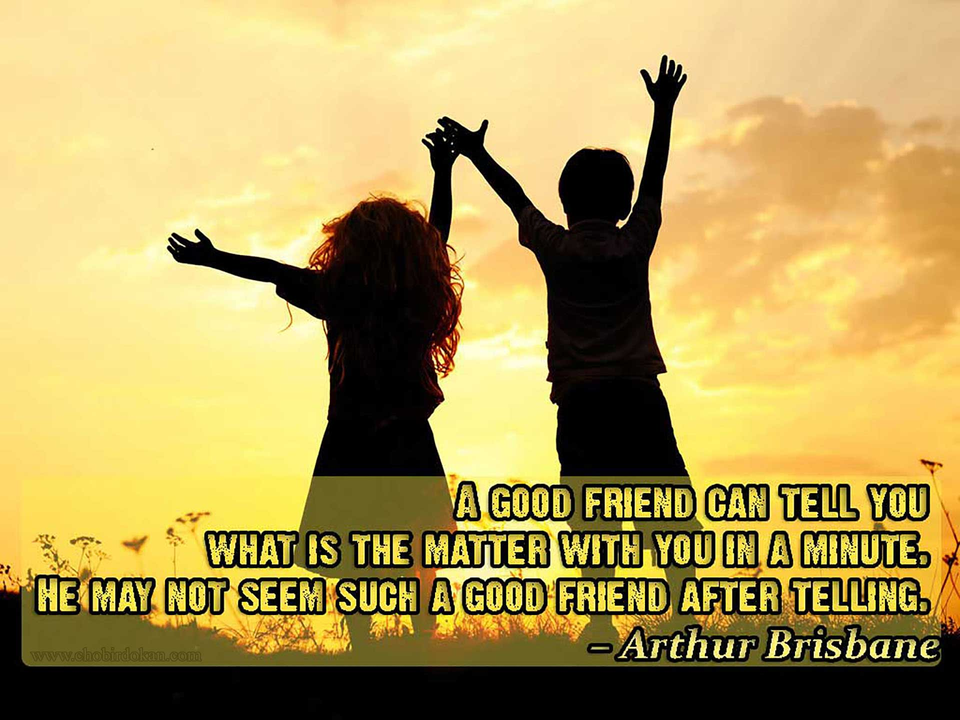 a good friend can tell you what is the matter with you in a minute. he may not seem such a good friend after telling Arthur brisbane